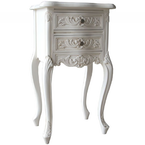 Louis French Bedside Table in Antique White